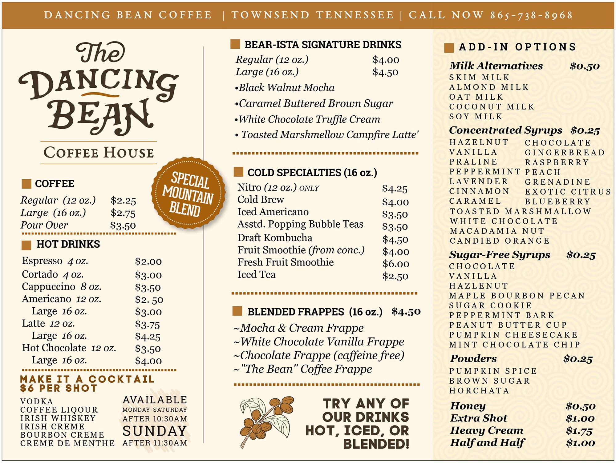 Dancing Bean Coffee House Menu